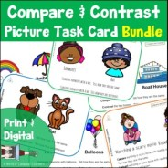 Compare and Contrast PIcture Task Cards Growing Bundle