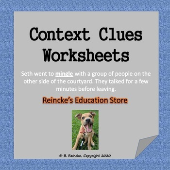 Context Clues Multiple Choice Worksheets  6 total  by Reincke s     Context Clues Multiple Choice Worksheets  6 total