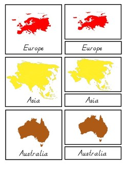 Continents 3 Part Cards Outlines Silhouettes