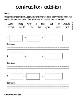 Freebie Contractions Addition Activity Worksheet By