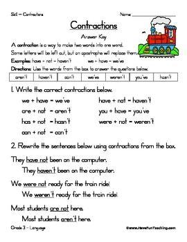 Contractions Worksheet By Have Fun Teaching