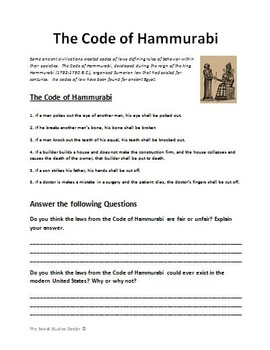 Cuneiform And The Code Of Hammurabi Double Worksheet