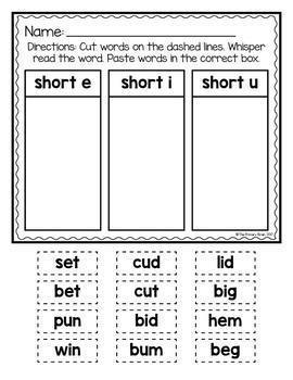 Cut And Paste Short Vowel Cvc Word Sort By The Primary