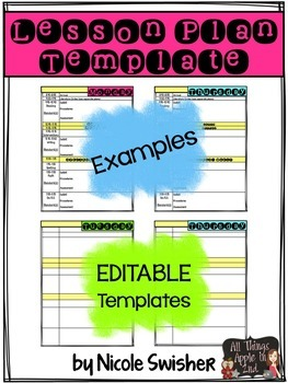 Daily Lesson Plan Template EDITABLE By Nicole Swisher All Things Apple In 2nd