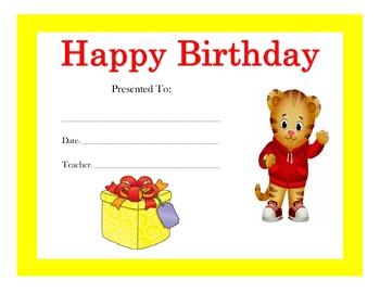 Daniel Tiger Birthday Certificates Includes 4 Certificates Tpt