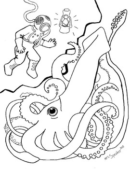 squid coloring page preschool # 36