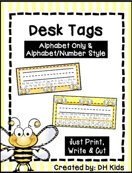 Desk Tags Printable Name Tags With Alphabet Numbers Bee Theme