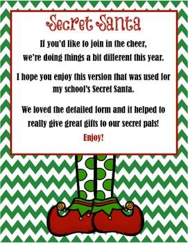 Detailed Secret Santa Questionnaire By Mrs Words Works TpT