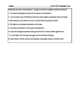 Differences Between Civil And Criminal Law Worksheet Comparison