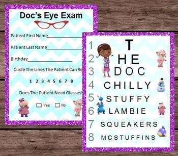 Doc Mcstuffins Eye Chart Patient Exam Pretend Dramatic Play Printable