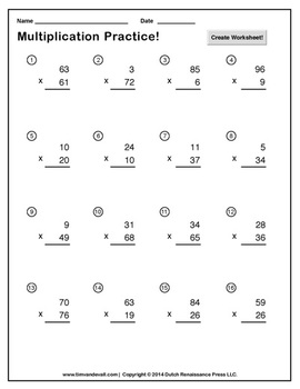 Double Digit Multiplication Worksheet Maker
