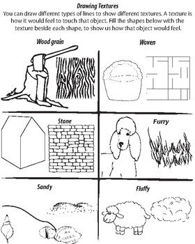 Drawing Textures Worksheet By Visual Voice