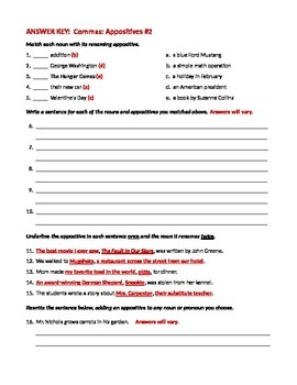 Ela Commas With Appositives Worksheet 2 By Deanne Davis