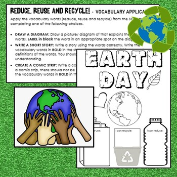 Earth Day Sort Reduce Reuse And Recycle Matching Cut And Paste Center Activity