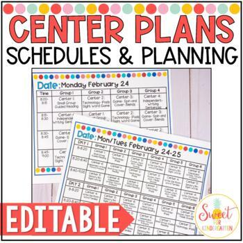Editable Center Rotation Schedules And Planning Pages