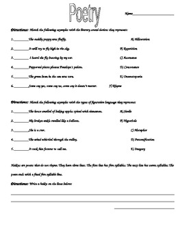 Elements Of Poetry Worksheet By Laurie Nelson