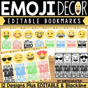 Printable Emoji Bookmark Editable  Arkaprintco
