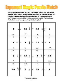 Exponents Magic Puzzle