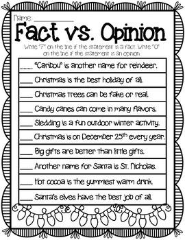 Christmas Fact Vs Opinion Worksheet By Kendra S Kreations