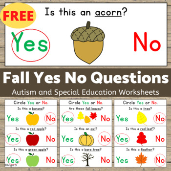Fall Activity -  Yes No Questions for Speech Therapy FREE