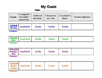 Free Behavior Chart Template