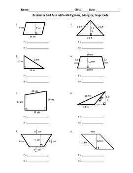 Free Perimeter And Area Of Parallelograms Triangles And Trapezoids