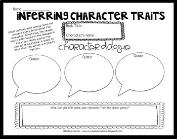 Free Sample Inferring Character Traits Organizer