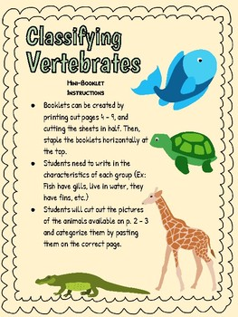 Freebie Classifying Vertebrates