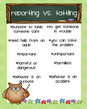 Reporting Vs Tattling Owl Poster Freebie By Kristina