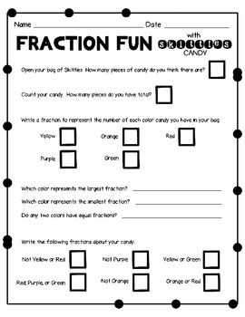Freebie Skittles Candy Fraction Activity By Extra Sprinkle