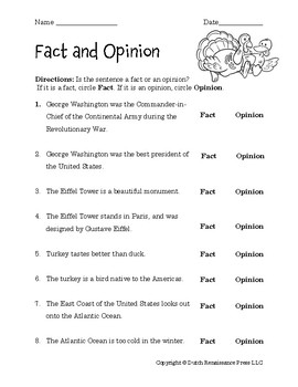 Fact And Opinion Worksheets By Tim S Printables