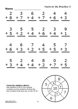 Addition Facts To 10 Facts To 10 Worksheets Full Color