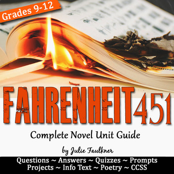 Fahrenheit 451 Literature Guide, Novel Unit Plan, Ray Bradbury