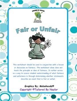 Fairness Worksheet Test Is It Fair Or Unfair Is It
