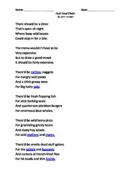 Fast Food Chain Poem With Multiple Choice Questions By