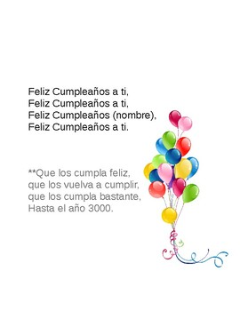 Fill The Blank Happy Birthday Song In Spanish 2 Versiones By Profe Z