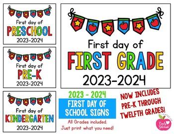2019 2020 First Day Of School Signs Freebie Preschool