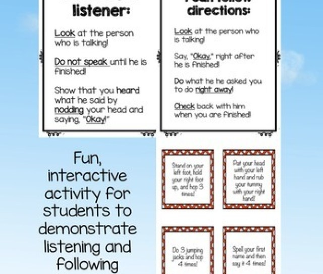 Responsibility Classroom Guidance Lesson Listening And Following Directions