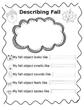 Five Senses Fall Adjectives Worksheet