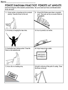Force Diagram Practice Worksheet: Forces at Angles (Free