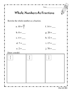 Fractions And Whole Numbers Worksheets By Loida