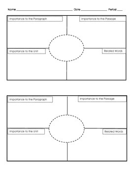 Frayer Models For Vocabulary Two To A Page