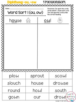 Word Sort Ou Ow By Twirly Whirly Teaching
