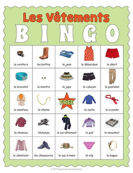 Printable French Clothing Bingo Les Vtements By Drag