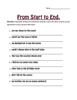 Capitalization And Punctuation Worksheets Teachers Pay