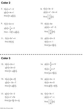 Function Operations Coloring Worksheet By Mrs E Teaches