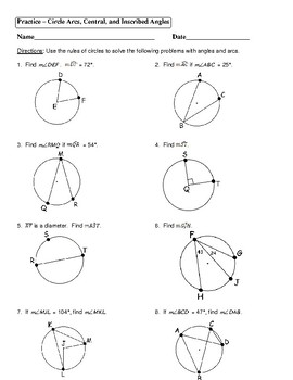 Geometry Unit 10 Circle Arcs Central Inscribed Angles Worksheet