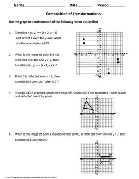 Geometry Worksheet Composition Of Transformations By My