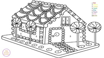 Gingerbread House Color Sheet By Nicole The Math Mama Tpt