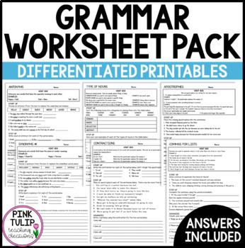 Grammar Worksheet Pack By Pink Tulip Teaching Creations